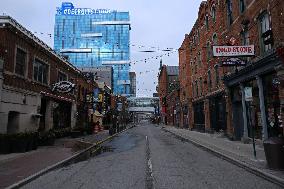 Restaurants along Monroe St. in Detroit, Michigan are temporarily closed during the novel coronavirus (COVID-19) outbreak on March 24, 2020. - At 12:01 am Tuesday March 24,2020 Governor Gretchen Whitmer ordered a 'Stay at Home and Stay Safe Order' to slow the spread of Coronavirus (COVID-19) across the State of Michigan which now has 1,791 confirmed cases and 24 deaths due to the virus. (Photo by SETH HERALD / AFP)