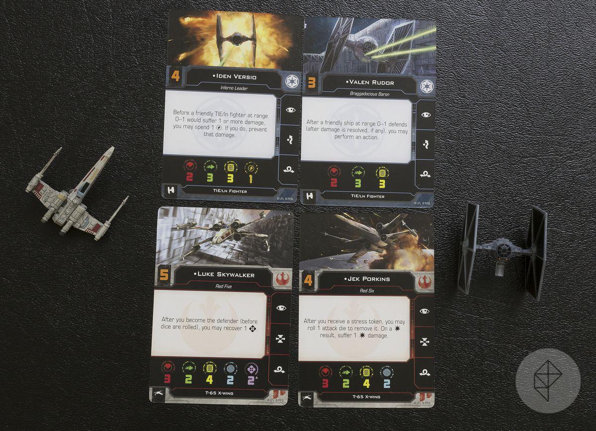 X-Wing Second Edition - cards for Iden Versio, Valen Rudor, Luke Skywalker, Jek Porkins