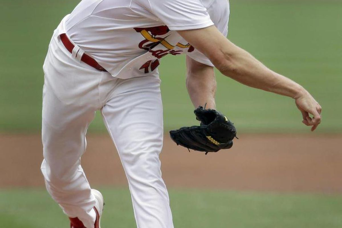 St. Louis Cardinals starting pitcher Jake Westbrook throws during the second inning of a baseball game against the Chicago Cubs on Sunday, April 15, 2012, in St. Louis.