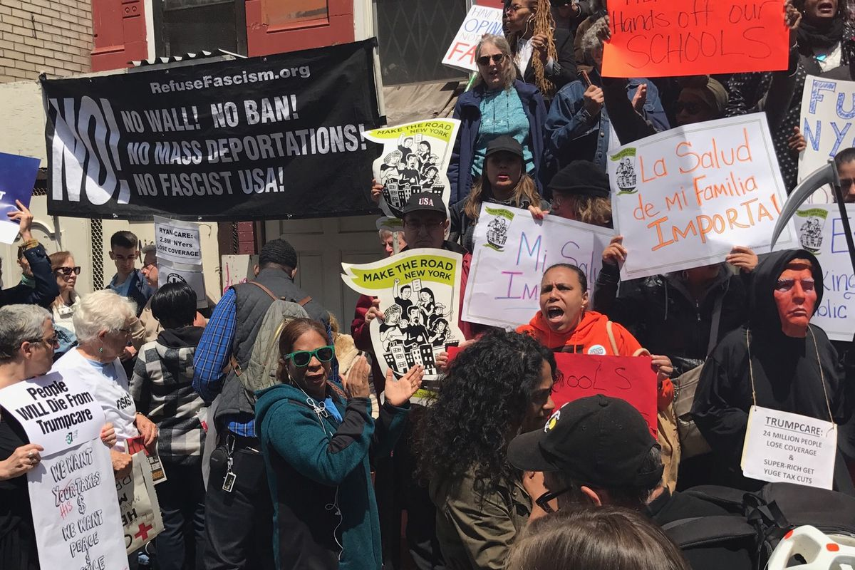 Activists at the rally outside Success Academy Harlem 1