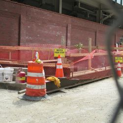 3:51 p.m. Excavation site on Waveland, behind the left-field video board -