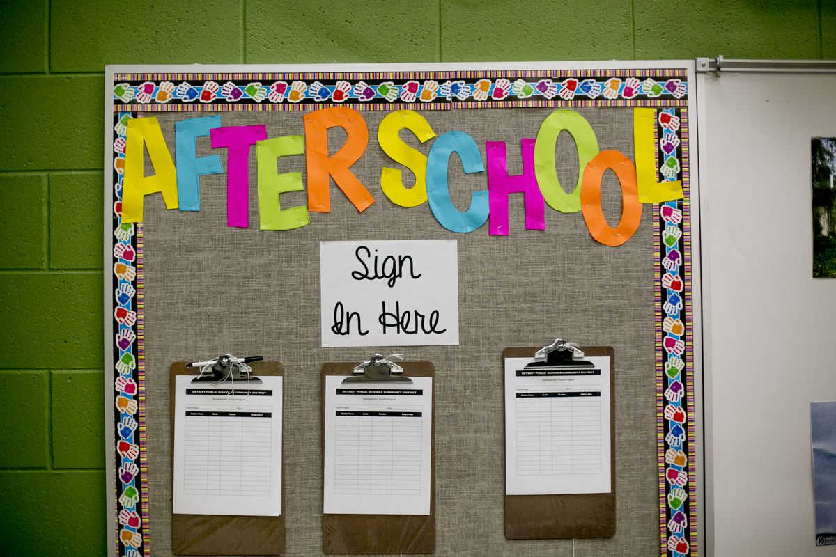 A sign up sheet for after-school programs at Earhart Elementary-Middle School in southwest Detroit.