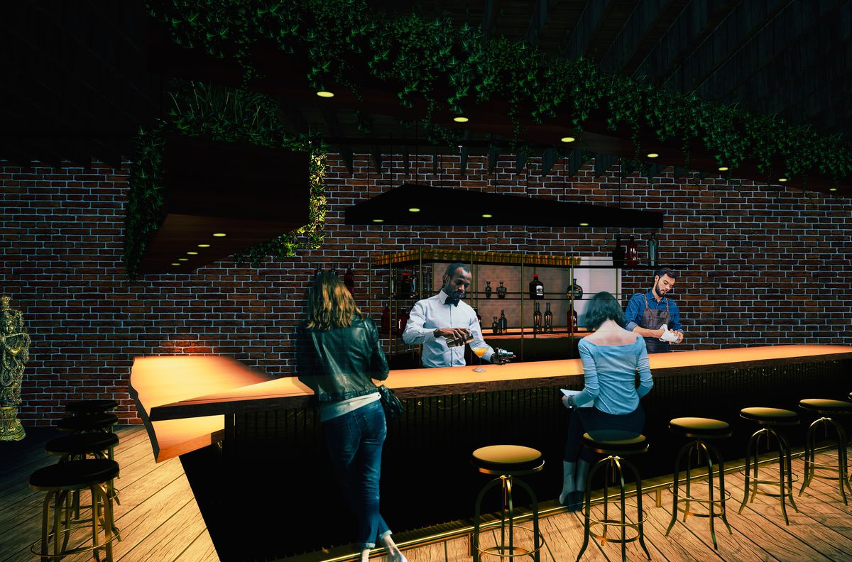 Figures stand around a triangular bar under dim lighting with a brick backdrop and ceiling fixtures draped with plants.