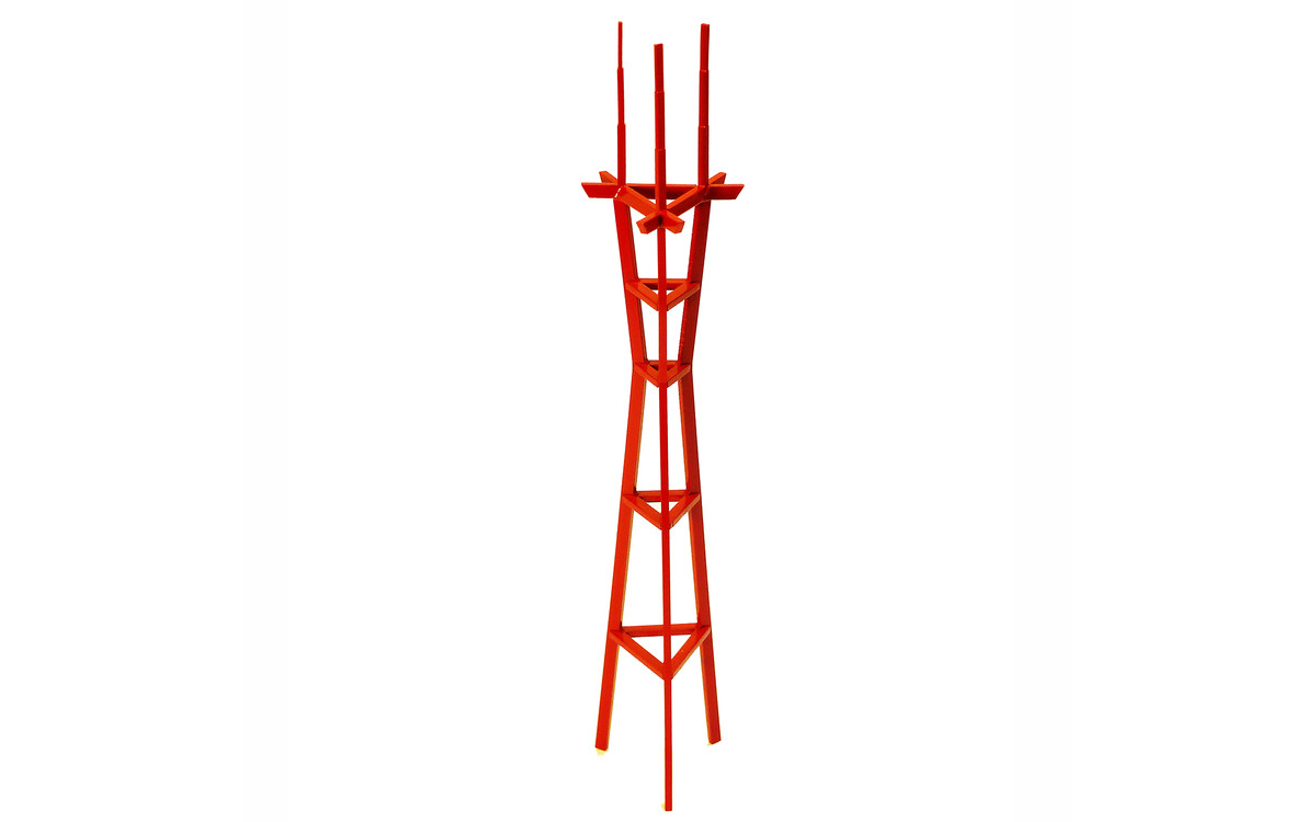 A replica of the Sutro Tower in San Francisco. The replica is aluminum and painted red.