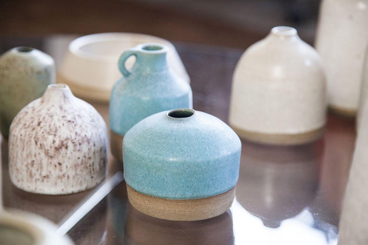 Closeup of ceramics at Staud's Downtown Arts District showroom and studio