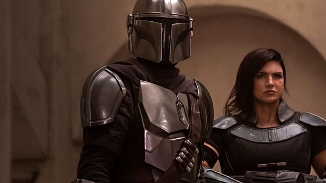 The Mandalorian and Cara Dune appear in a still from the Disney Plus series