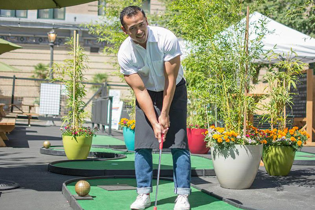 Chef Jun Roblese putting on The 19th Hole