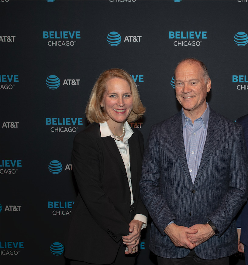 """Eileen Mitchell, president of AT&T Illinois, and John Donovan, CEO of AT&T Communications, attend a screening of """"Beacons of Hope — Stories of Strength from Chicago."""" 'Beacons of Hope' is our effort to change some of the negative narratives about"""