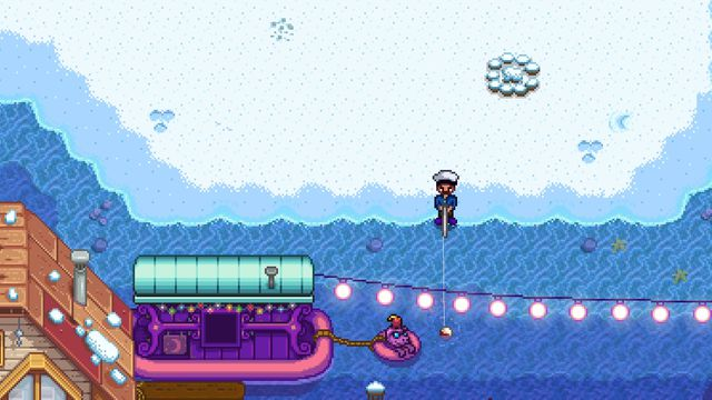 a Stardew Valley character fishing in the ocean, while the Night Market is in session.