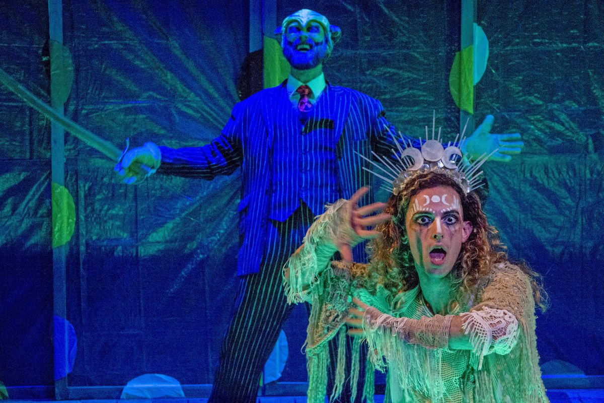 """Will Wilhelm (front) and Andrew Jessop star in Theater Wit's """"Mr. Burns, a post-electric play."""""""