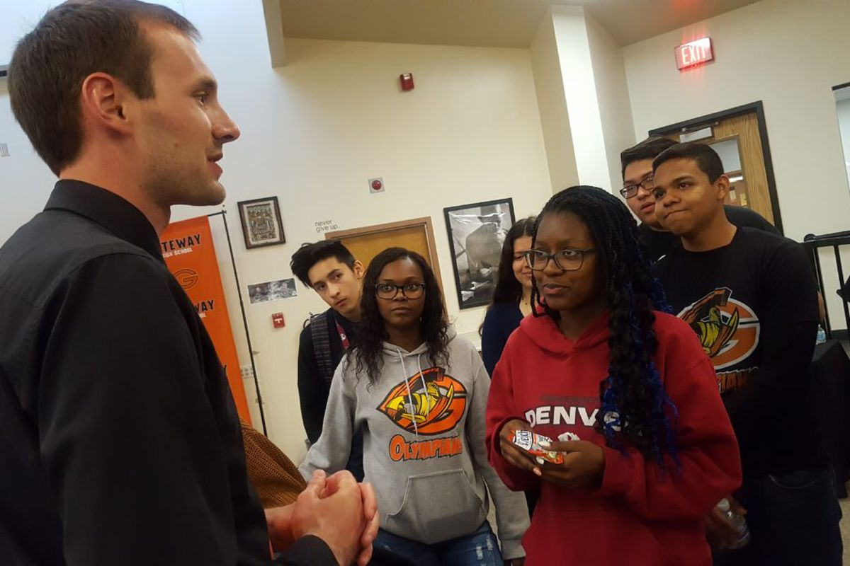 Marty Wittmer, a social studies and AVID teacher, talks to his students at Gateway High School in Aurora.