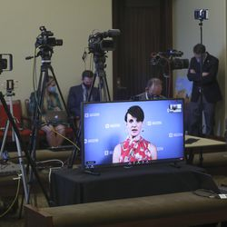 State epidemiologist Dr. Angela Dunn speaks remotely during a briefing with Utah Gov. Gary Herbert at the Capitol in Salt Lake City on Wednesday, June 24, 2020. During the briefing, Herbert discussed the importance of wearing a mask and the state's efforts to fight COVID-19.