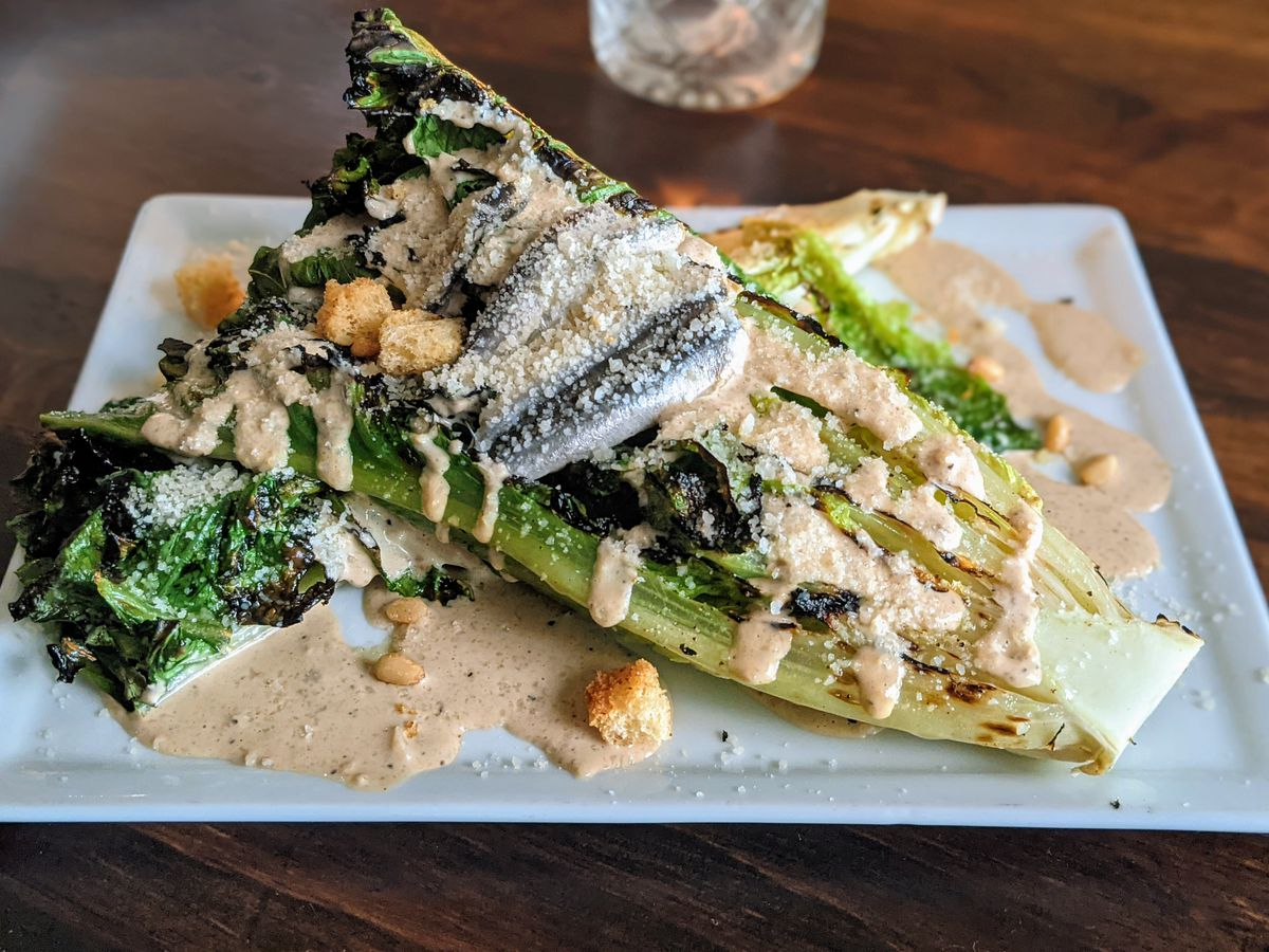 Grilled caesar salad with anchovies.