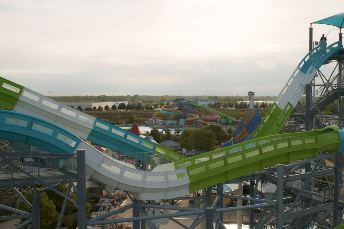 Tsunami Surge is Hurricane Harbor Chicago's latest attraction and the world's tallest water coaster.