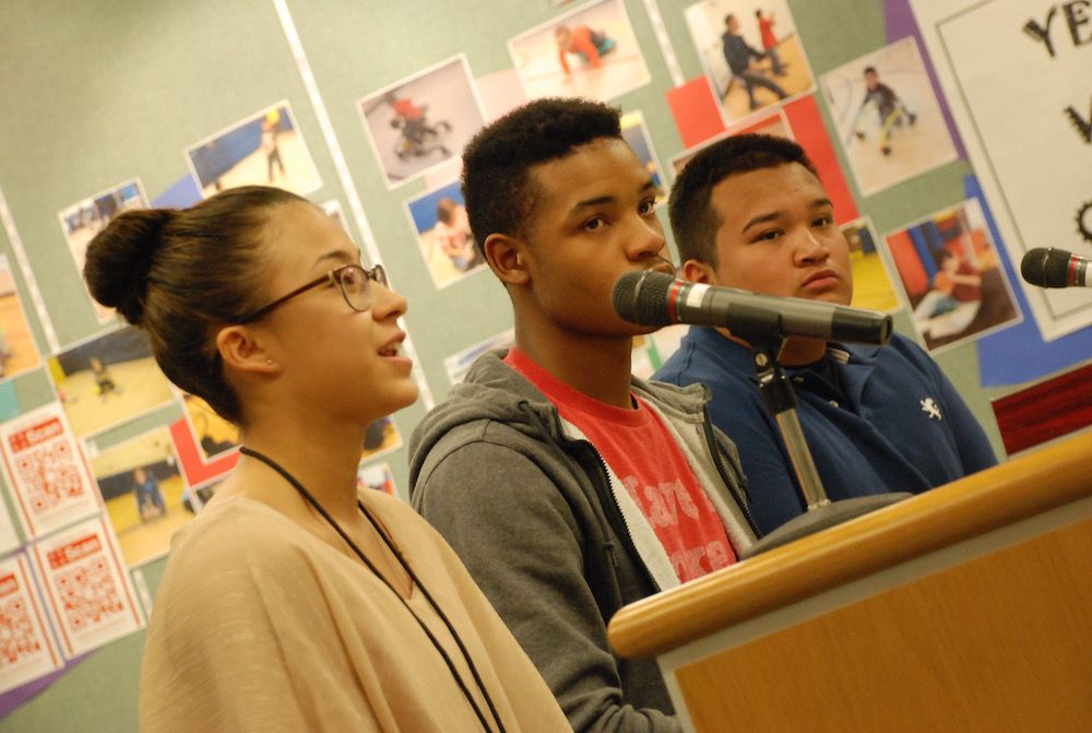 Ramirez, left, and two other Aurora Central students addressed the school board in 2015.