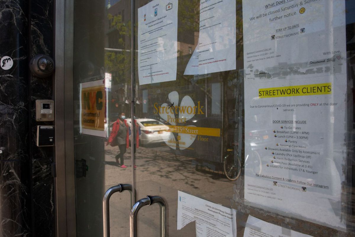 A Harlem drop-in center for homeless youth was providing limited services during the coronavirus outbreak, May 12, 2020.