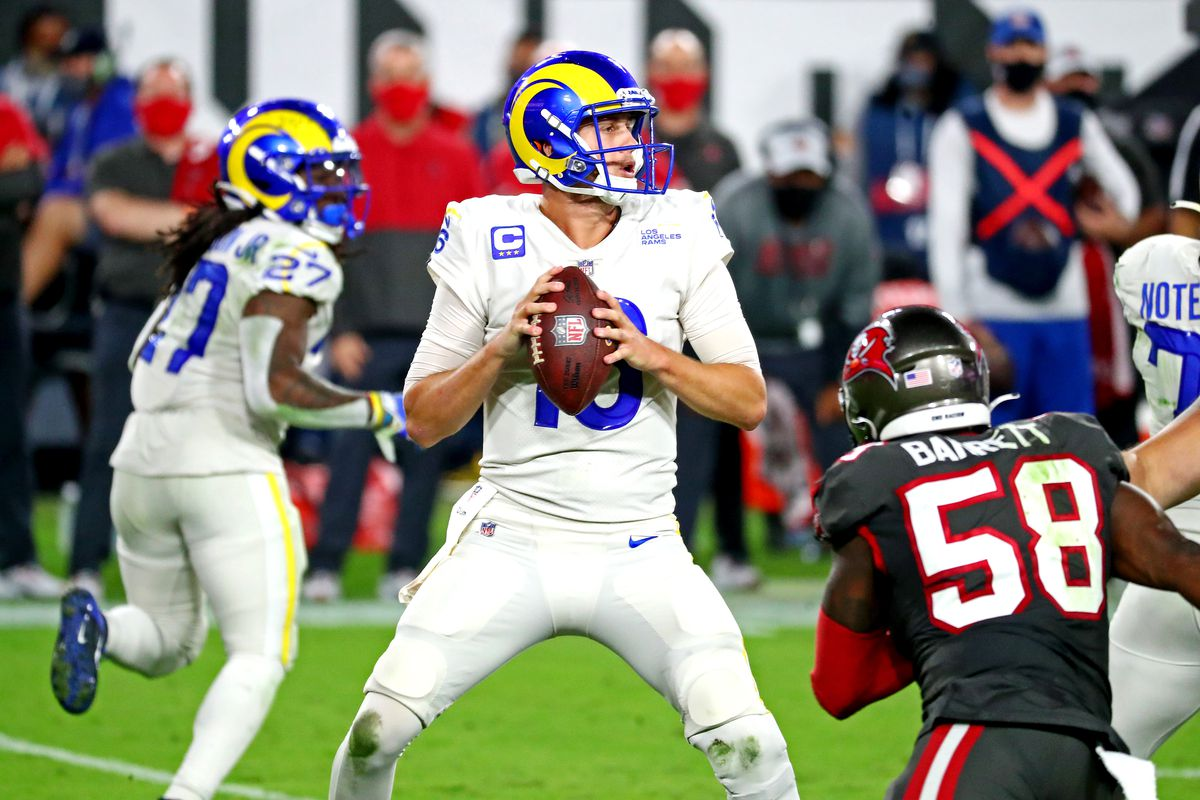 Los Angeles Rams quarterback Jared Goff (16) drops back to pass during the third quarter against the Tampa Bay Buccaneers at Raymond James Stadium.