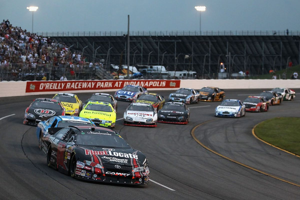 Kyle Busch leads drivers the NASCAR Nationwide Series Kroger 200 at O'Reilly Raceway Park on July 24, 2010.