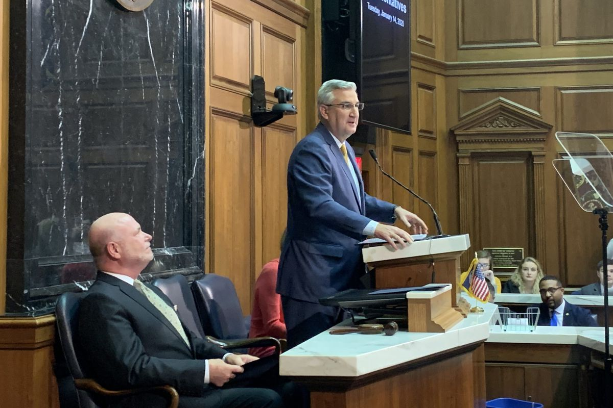 Indiana Gov. Eric Holcomb delivers his 2020 State of the State address on Jan. 14.