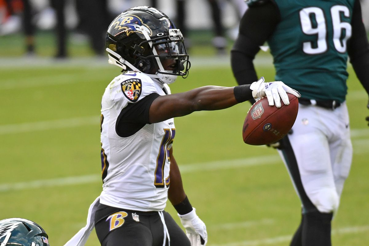 Baltimore Ravens wide receiver Marquise Brown (15) reacts after making a catch for a first down against the Philadelphia Eagles at Lincoln Financial Field.