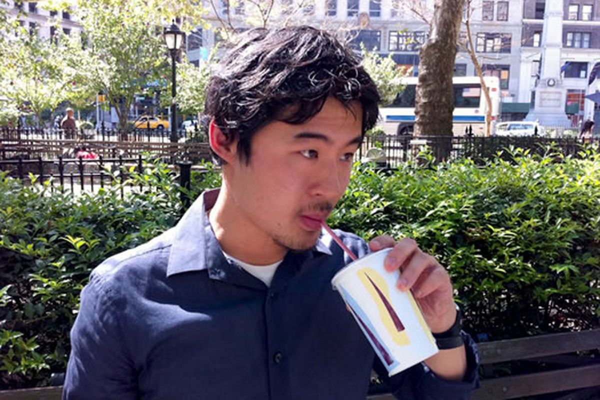 Francis Lam, laid back, sippin' on juice.