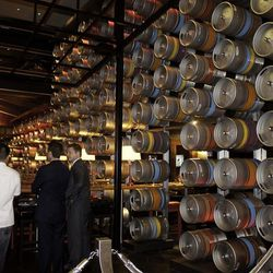 The Carnaby Street striped kegs.