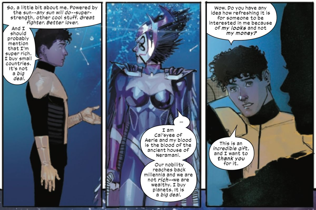 Sunspot hits on Deathbird, of the Shi'ar. She is extremely dangerous and not interested, and he is oblivious, in New Mutants #5, Marvel Comics (2020).