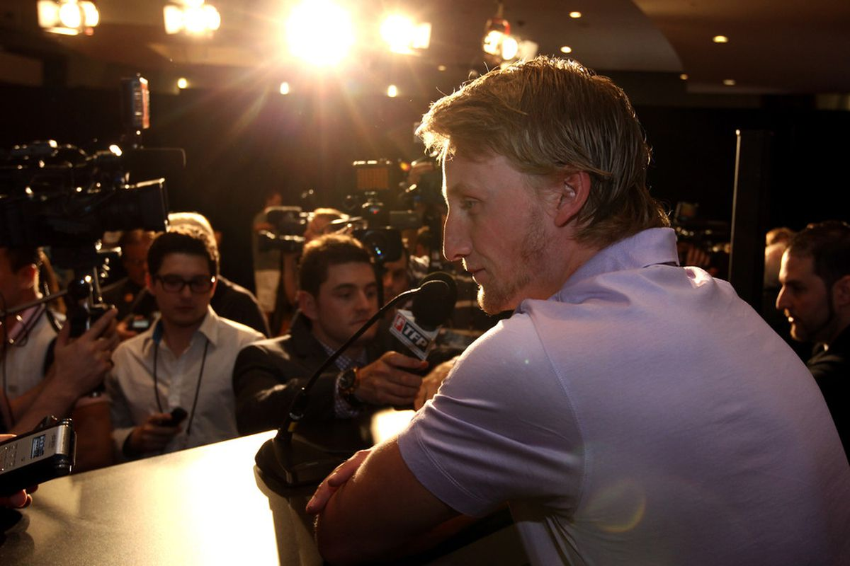LAS VEGAS, NV - JUNE 21:  Steven Stamkos of the Tampa Bay Lightning addresses the media at the 2011 NHL Awards nominee media availability at the Palms Casino Resort on June 21, 2011 in Las Vegas, Nevada.  (Photo by Bruce Bennett/Getty Images)