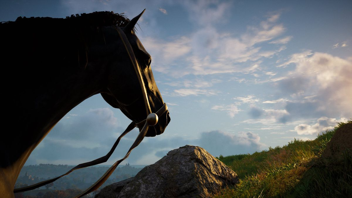 A black horse gazes into the distance in Assassin's Creed Valhalla