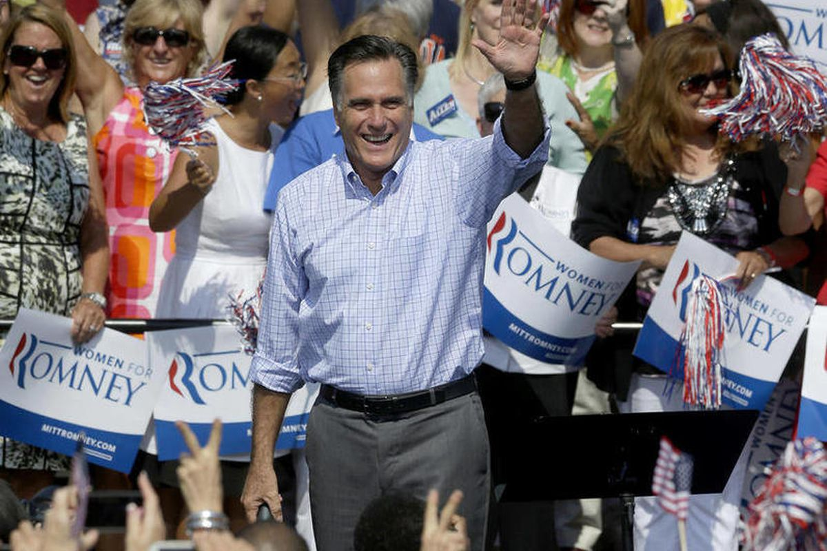 Republican Presidential candidate, former Massachusetts Gov. Mitt Romney, waves to supporters during a campaign event at Van Dyck Park, Thursday, Sept. 13, 2012, in Fairfax, Va.