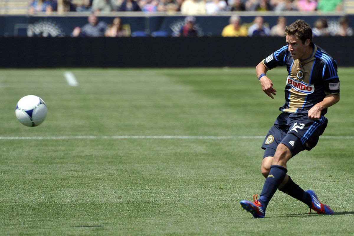 May 13, 2012; Chester, PA, USA; Philadelphia Union forward Chandler Hoffman (12) takes a shot against the New York Red Bulls during the second half at  PPL Park.  The Red Bulls won the game 3-2.  Mandatory Credit: Joe Camporeale-US PRESSWIRE