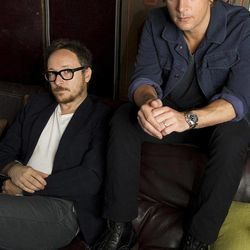 """This July 10, 2012 photo shows Rob Thomas, right, and Paul Doucette of Matchbox Twenty in New York. Matchbox Twenty's new album, """"North,"""" debuted at No. 1 on Billboard's 200 albums chart this week. It is the band's first full-length album since 2002's """"More Than You Think You Are."""""""