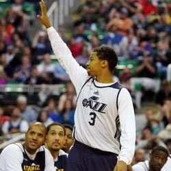 Trey Burke is introduced before the Utah Jazz scrimmage in Salt Lake City, Saturday, Oct. 5, 2013.