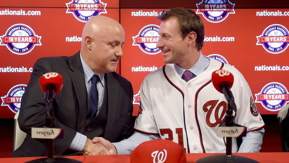 Press conference for newly acquired pitcher Max Scherzer