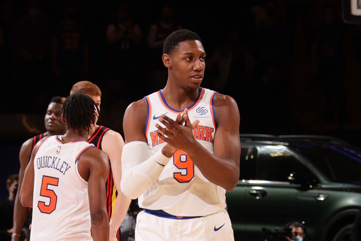 RJ Barrett #9 of the New York Knicks looks on during the game against the Atlanta Hawks on April 21, 2021 at Madison Square Garden in New York City, New York.