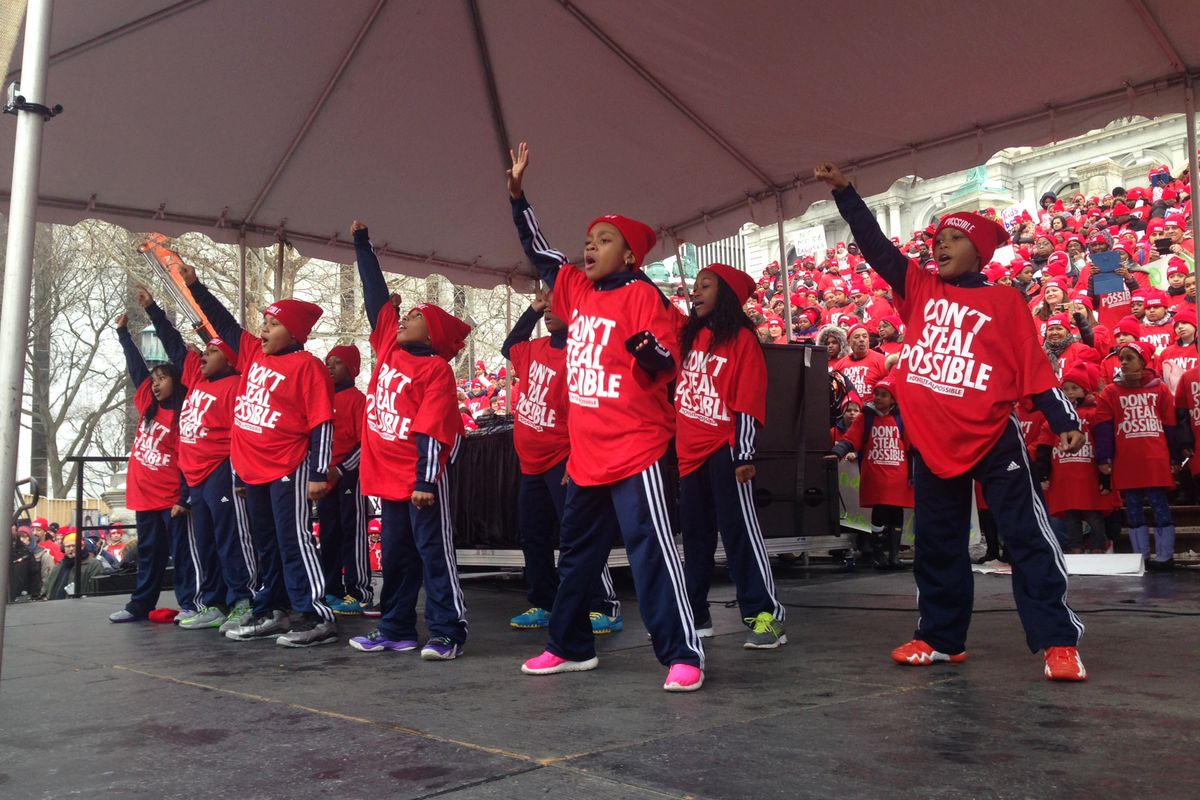 Charter-school students perform at a rally in Albany in 2015.