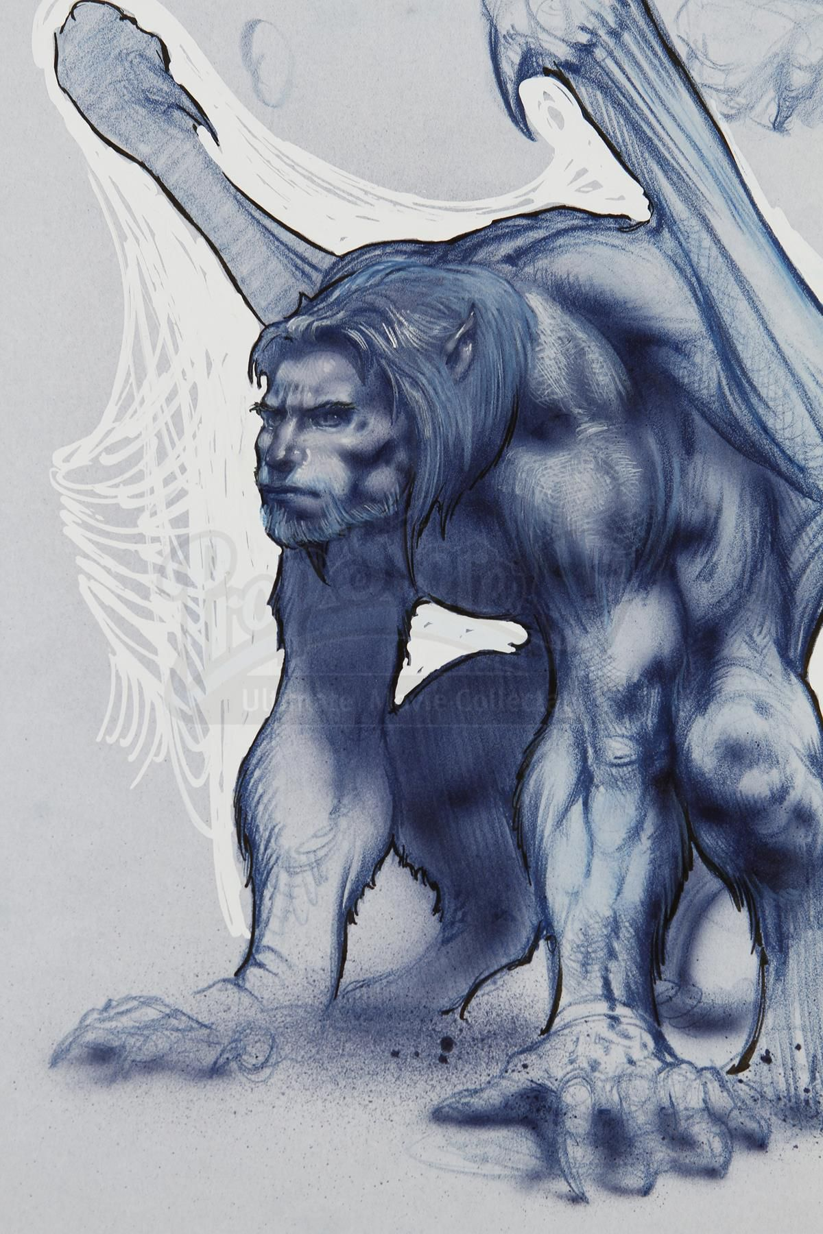A blue illustration of a more human Goliath