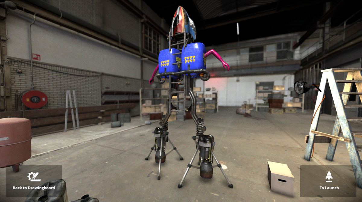 A rocket consisting of dual thrusters and a pink mannequin arm.