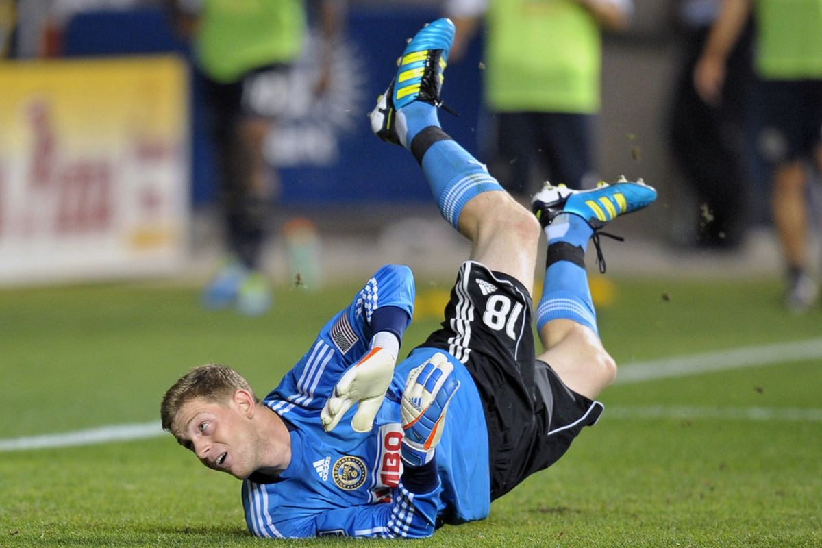 Rookie goalkeeper Zac MacMath was given a trial by fire during his first start with the Philadelphia Union. The game ended in a 4-4 draw. (Photo by Drew Hallowell/Getty Images)