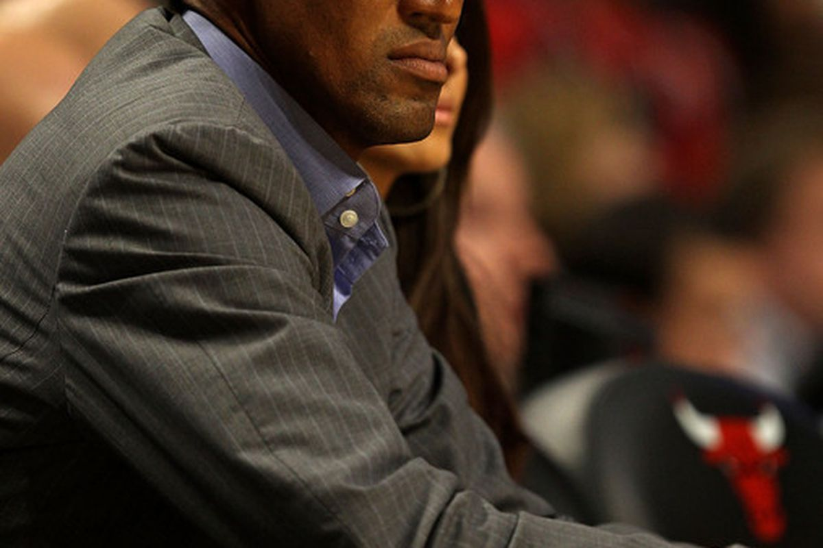 Former NBA player Scottie Pippen attends a game between the Chicago Bulls and the Portland Trail Blazers at the United Center on November 1 2010 in Chicago Illinois. The Bulls defeated the Trail Blazers 110-98. (Photo by Jonathan Daniel/Getty Images)