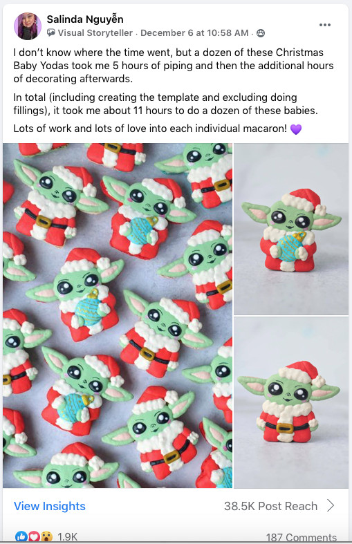 Screengrab of a Facebook post that shows macarons in the shape of Baby Yoda.