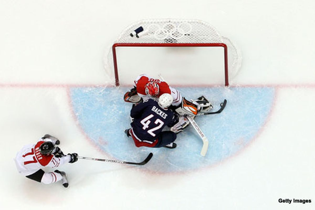 David Backes scores the game-winner against Switzerland. And then he found a cuckoo clock and smashed it too.