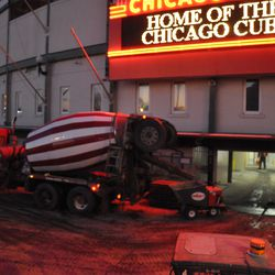 Concrete truck under the marquee at Clark & Addison
