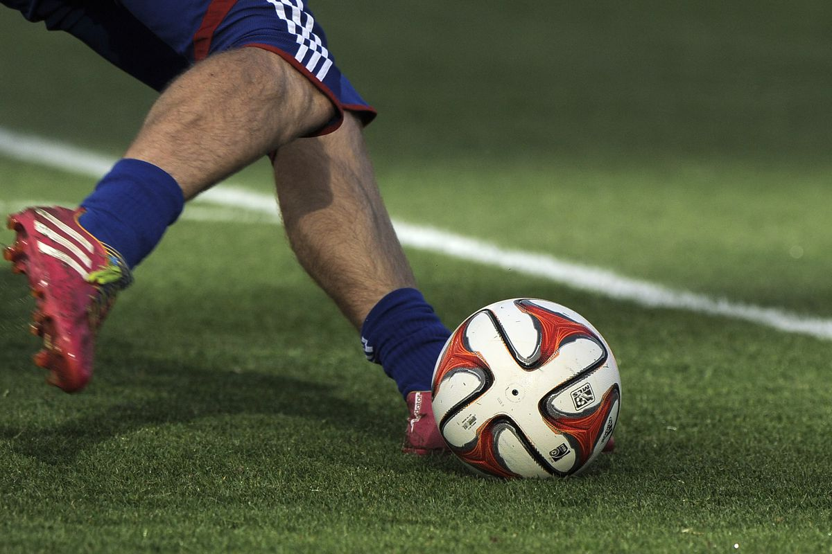 Generic action of a soccer ball being kicked during the game between FC Dallas and Real Salt Lake at Rio Tinto Stadium May 24, 2014 in Sandy, Utah.