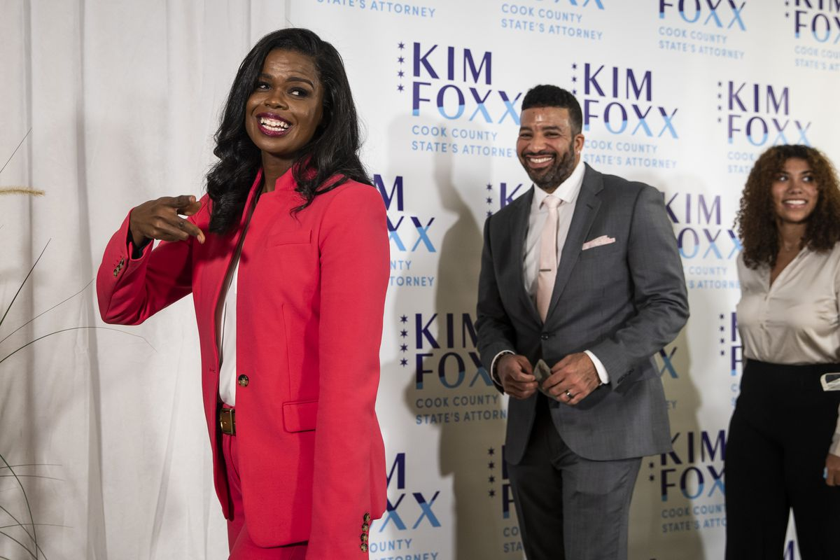Flanked by family members, incumbent Cook County State's Attorney Kim Foxx dances as she finishes her election night headquarters speech at the Kinzie Hotel on the Near North Side after defeatingRepublican candidate Pat O'Brien in the general election.