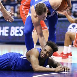Brigham Young Cougars guard Jahshire Hardnett (0) reacts after being called for a foul during the game against the Utah Utes at the Marriott Center in Provo on Saturday, Dec. 16, 2017.