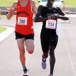 Christopher Korir of Wasatch Academy and Cory Bunker of Monticello place second and third in the 2A boys high school state cross-country championships in Cedar City on Wednesday, Oct. 21, 2020.