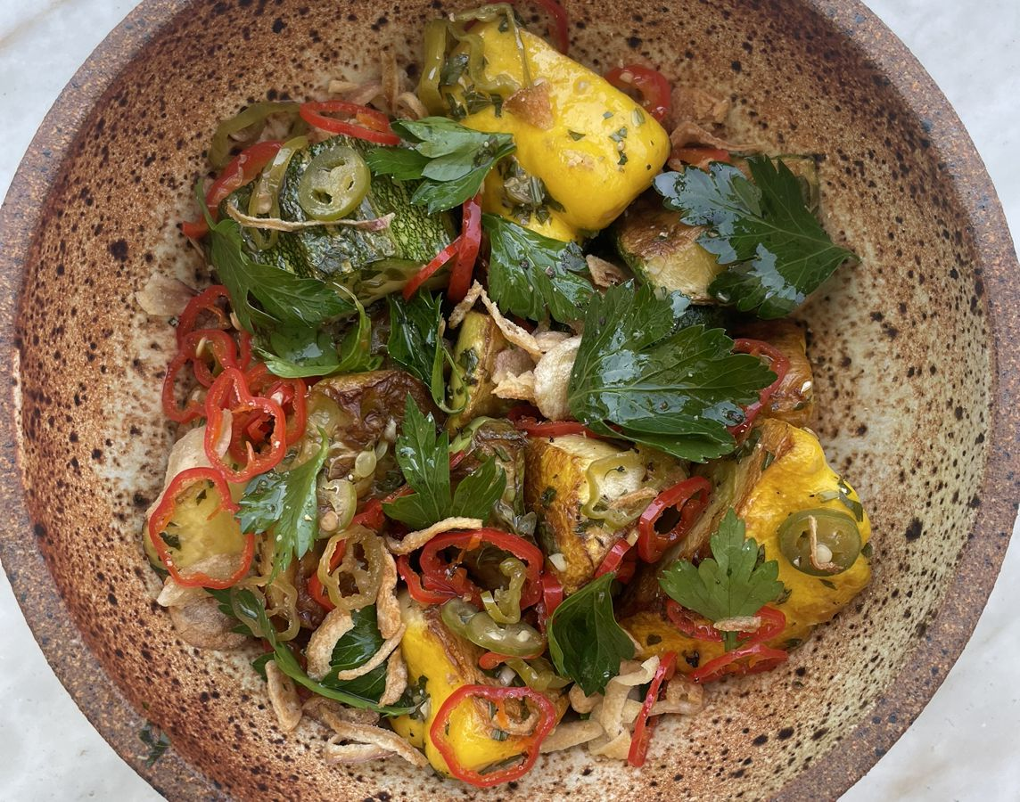 Oven wood-fired squash from Fig restaurant in Santa Monica