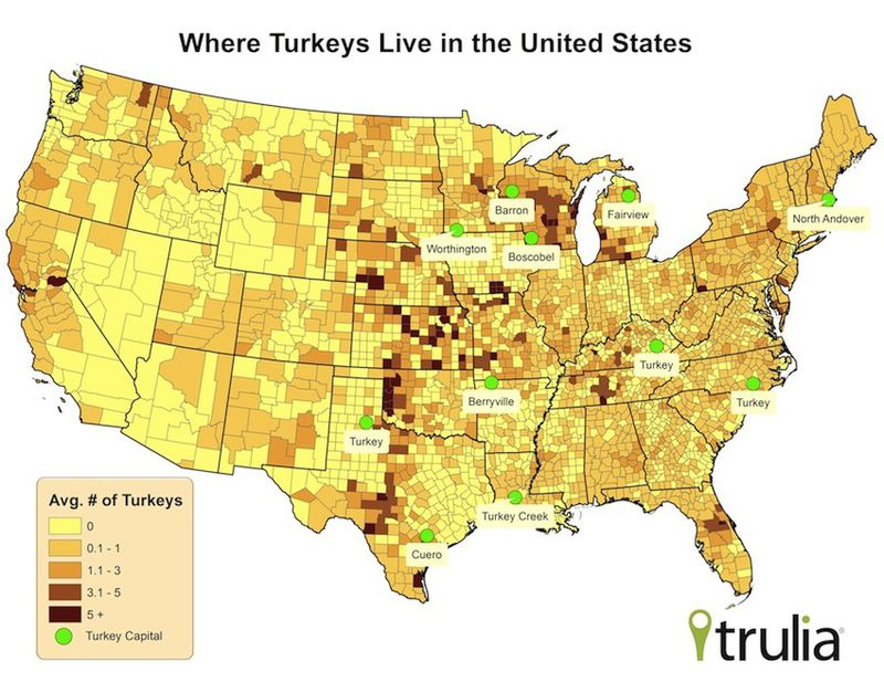 Map Turkey Density In The United States Vox - Us map by population density