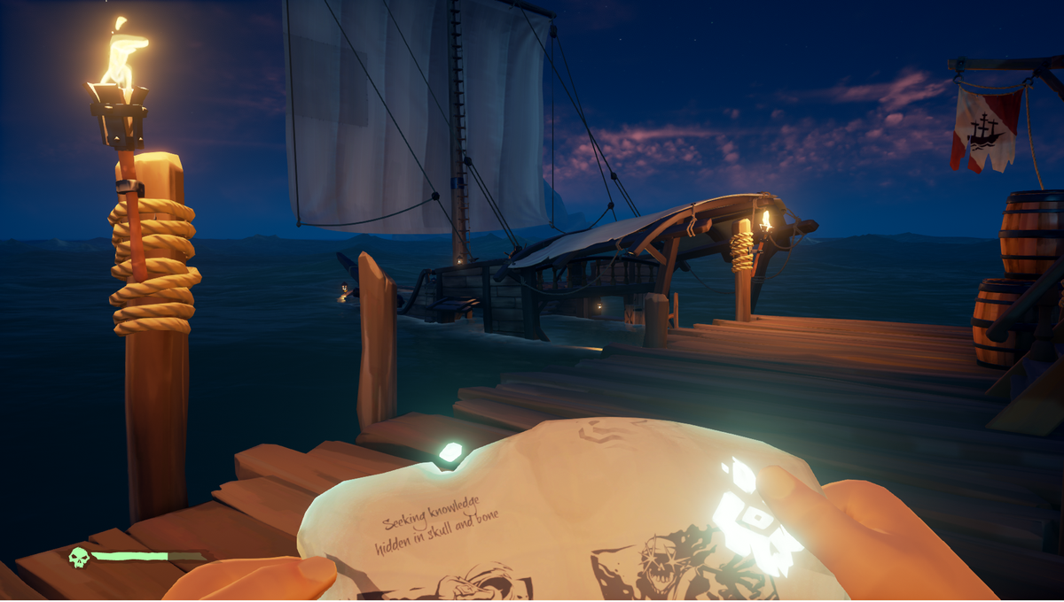 Sea of Thieves - a ship sinks next to the dock, as the player examines a cursed document